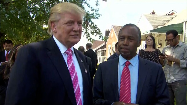 Donald Trump and Ben Carson at a home in Detroit