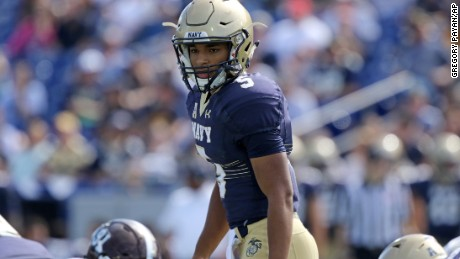 Navy QB Malcolm Perry wasn't on the sidelines at the beginning of Saturday's game.