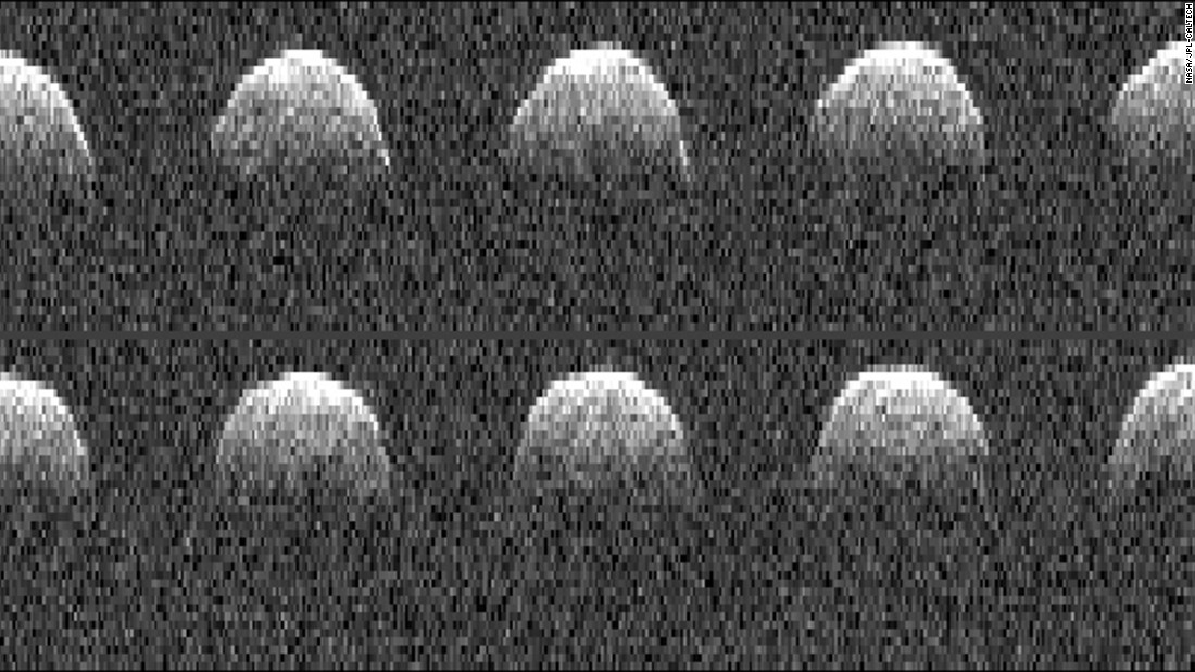These radar images of asteroid Bennu were obtained by NASA's Deep Space Network antenna in Goldstone, California, on September 23, 1999.