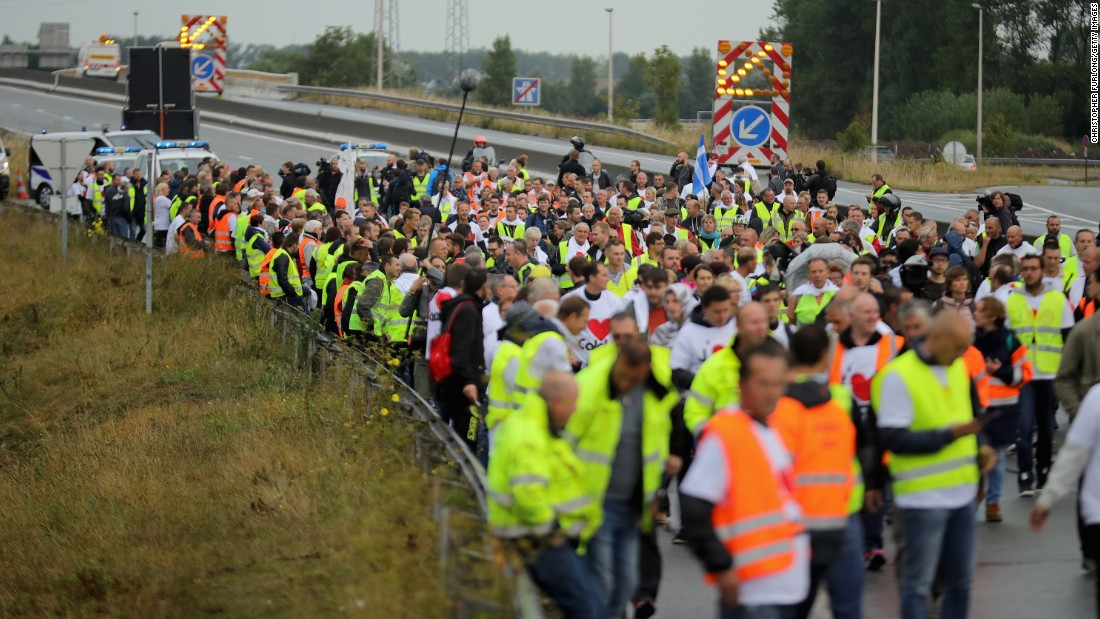 "French business owners and local residents block the main road into the Port of Calais as they protest ""The Jungle"" on Monday, September 5."