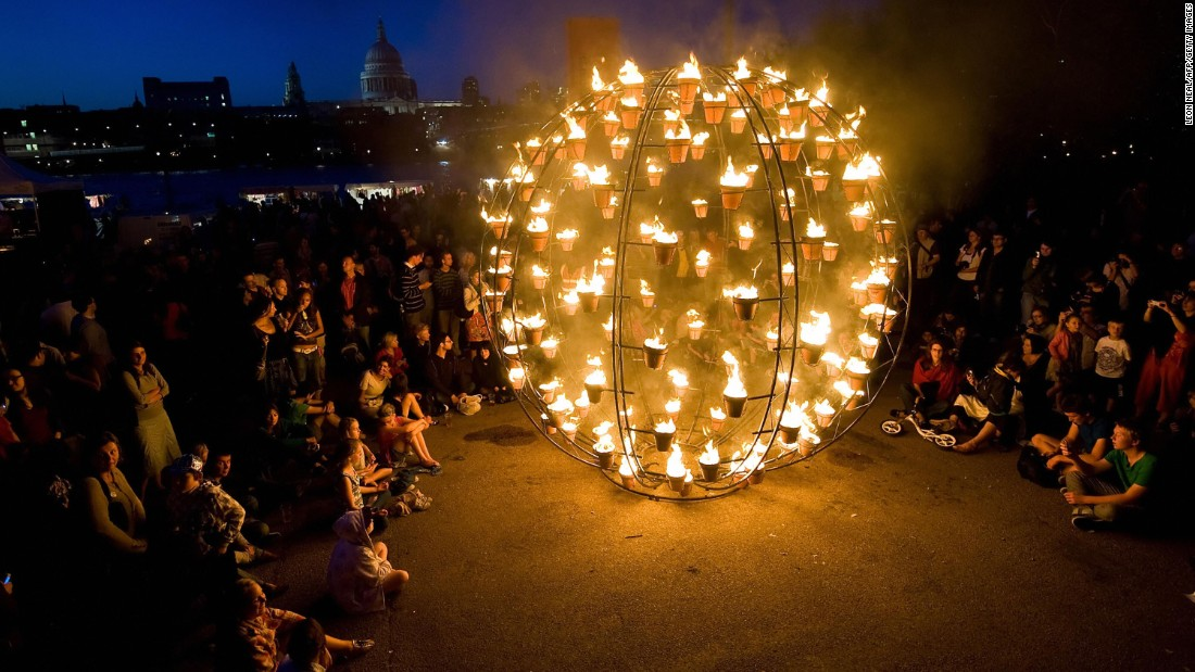 The event also featured a 'Fire Garden,' designed by French street art collective Compagnie Carabosse.