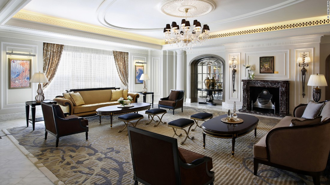 The Sir Winston Churchill Suite at the St. Regis in Dubai occupies nearly 10,000 square feet spread over two floors and includes three bedrooms.