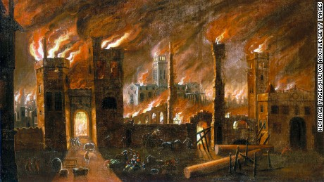 'The Great Fire of London, 1666', in a painting from circa 1675. View looking towards the west facade of old St Paul's Cathedral, seen from Blackfriars.