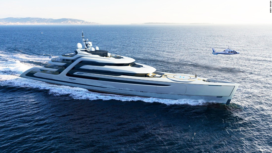 "<a href=""http://www.andywaugh.co.uk/concepts/ascendance/"" target=""_blank"">Ascendance</a> is ""a highly-efficient 111-meter superyacht designed to be 25% lighter than a conventional yacht of similar specification,"" Waugh explains. Complete with a retractable helipad and intimate ""fire-pit"" area sunken into the deck to create the ideal sociable environment, it also boasts a swimming pool on the main deck which provides a dramatic waterfall feature to act as a focal point for the rest of the deck."