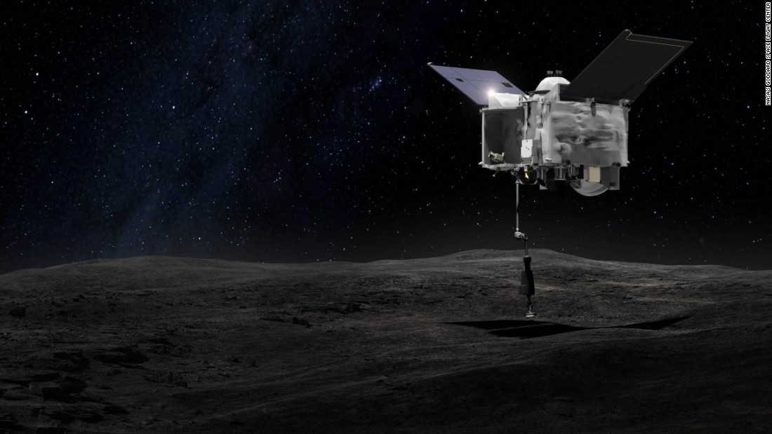 This drawing shows an artist's concept of what it will look like when the OSIRIS-REx spacecraft briefly touches asteroid Bennu with its robot arm to grab a sample of the asteroid.