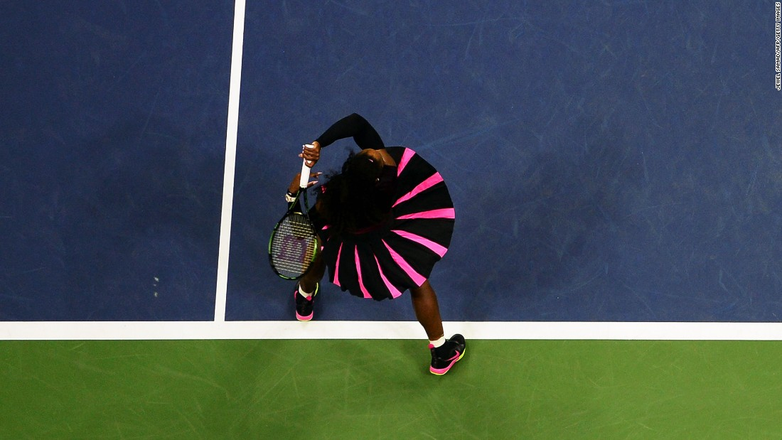 Tennis star Serena Williams hits a return during a US Open match in New York on Thursday, September 1.