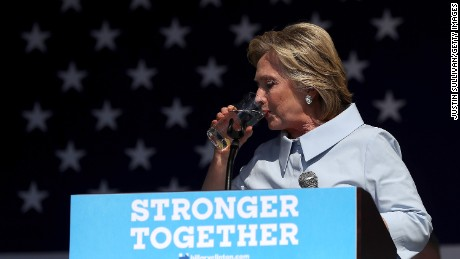 Clinton during coughing fit: 'Every time I think about Trump I get allergic'