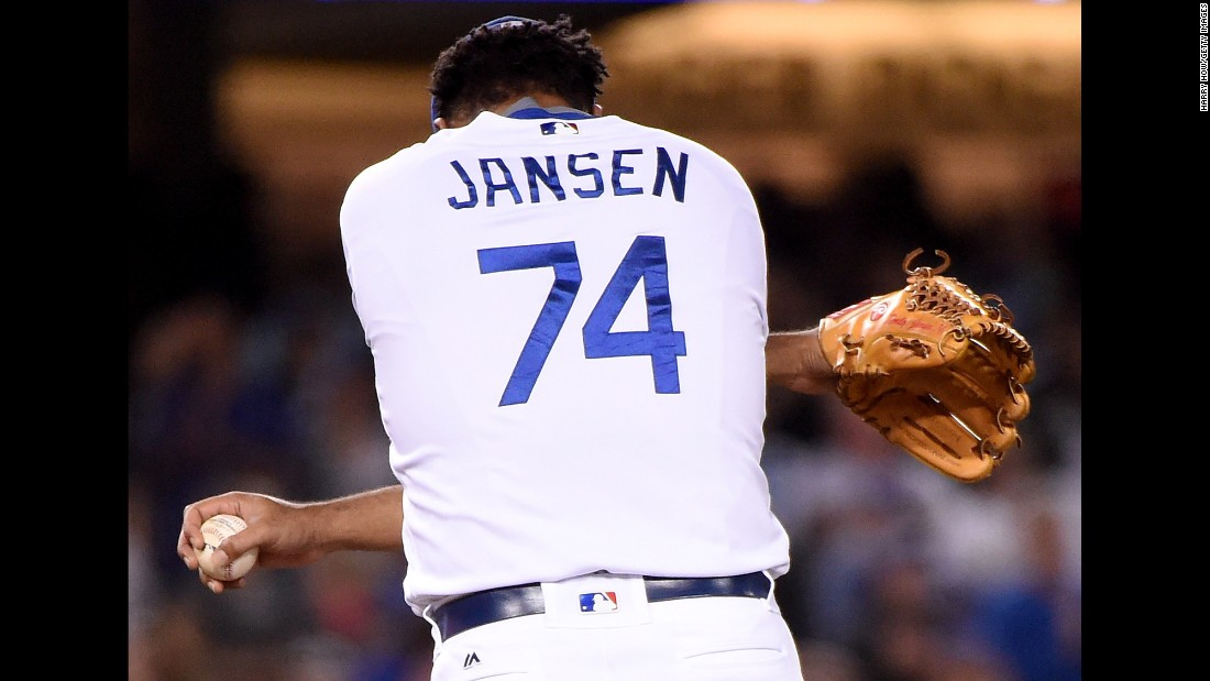 Kenley Jansen of the Los Angeles Dodgers stretches during a game in Los Angeles on Saturday, September 3.