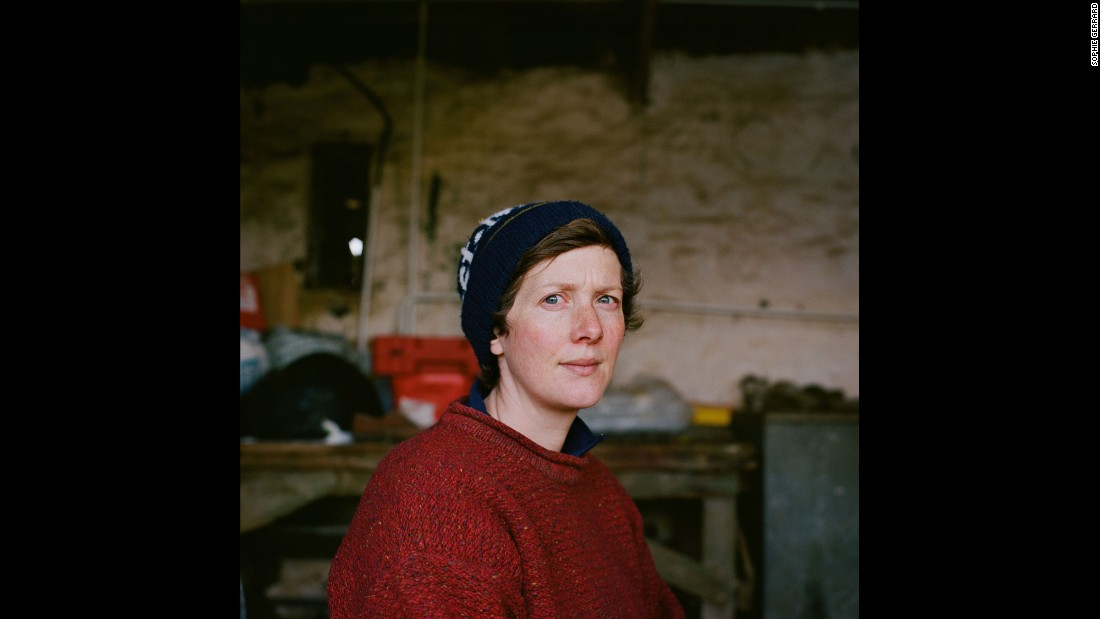 Scottish farmer Sarah Boden poses for a photo at her farm -- the Sandamhor Farm -- on the Isle of Eigg. She is one of six women photographed by Sophie Gerrard.