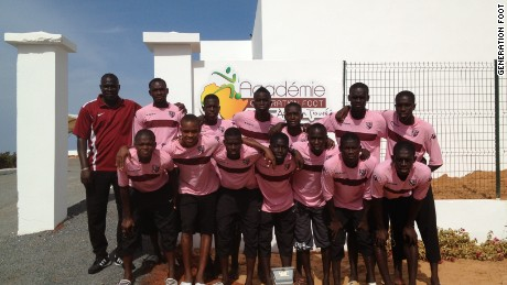 Team photo at the 'Generation Foot' academy in Dakar Senegal.