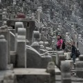 close up of Hong Kong's overcrowded cemetery
