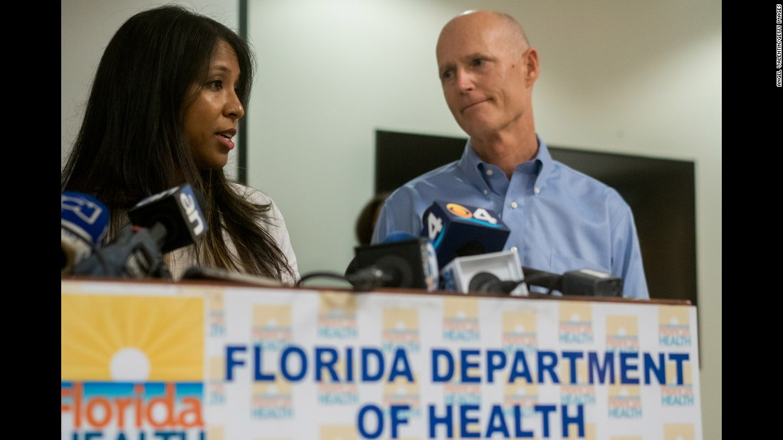 Florida Gov. Rick Scott and Florida Surgeon General Dr. Celeste Philip address the media gathered at the Miami-Dade County Department of Health as they announce five cases of Zika in a 1.5 mile area of Miami Beach on Friday, August 19, in Miami, Florida.