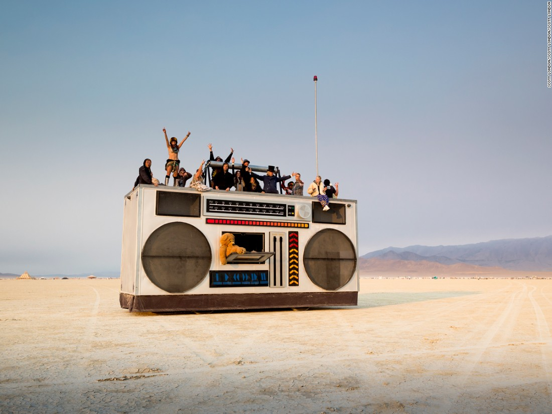 """This art car, built to resemble a 1980s-style ghetto-blaster, was fashioned by Los Angeles artist Derek Wunder and crew."""
