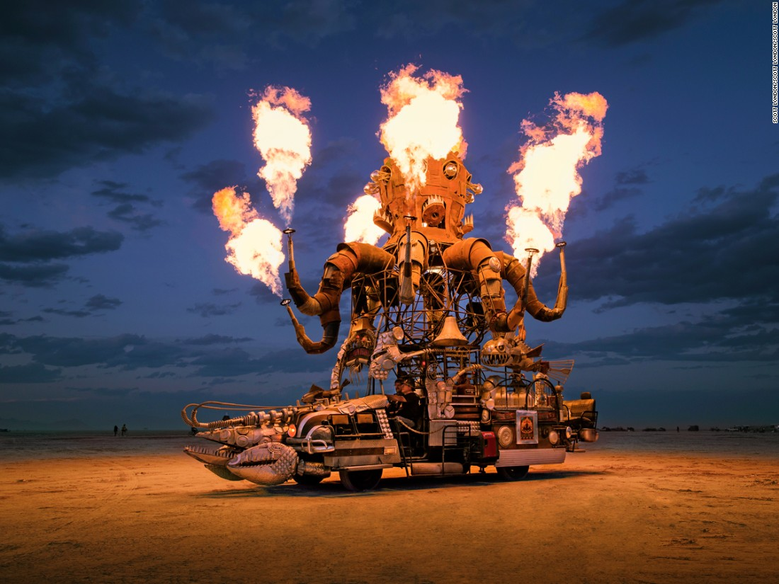 """The mechanical octopus known as El Pulpo Mecanico has long been a crowd favorite at Burning Man. It was built entirely from reclaimed scrap metal over the chassis of a 1973 Ford 250. Artist Duane Flatmo describes it as an art-installation on wheels. He's also<br />known for his other mutant vehicles, including Crustacean Wagon, Tin Pan Dragon Wagon, and the Armored Carp."""