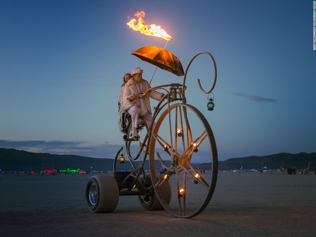 """Artist Randall Gates describes his ""Dreamcycle"" as a human-powered kinetic art installation on wheels."""