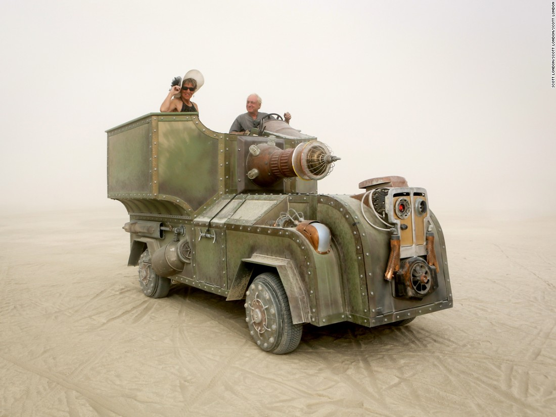 """Bob and Karen Thompson created this art car around a 1973 Super Beetle, repurposing garbage can lids, milk cans, part of a satellite dish, and glass fuses into the steampunk-inspired design."""