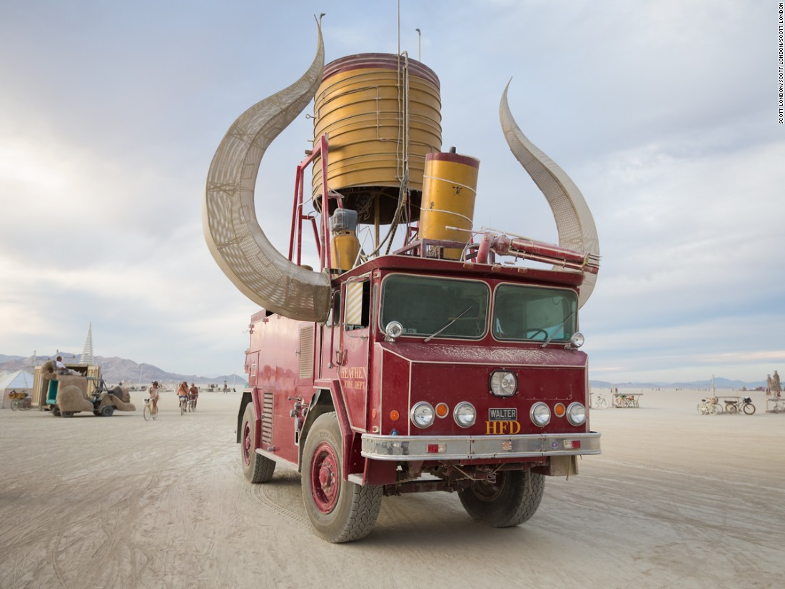 """With its massive glowing horns and dazzling flame-throwing effects, Heathen is one of the more easily-recognized art cars at Burning Man. Yet it's actually one of artist Kirk Strawn's lesser known vehicles. His other art cars include the giant VW bus 'Walter' and the<br />oversized Beetle 'Big Red.'"""