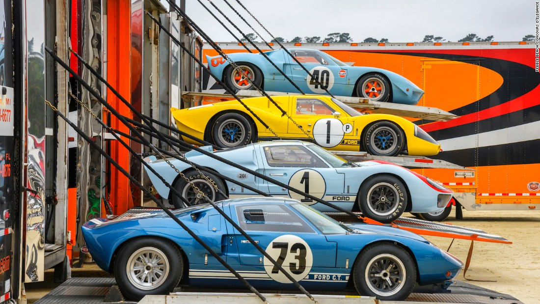 Nineteen iconic Ford GT40 race cars from the 1960s were on display at the Pebble Beach Concours d'Elegance to celebrate the 50th anniversary of the model's historic win over Ferrari at Le Mans.