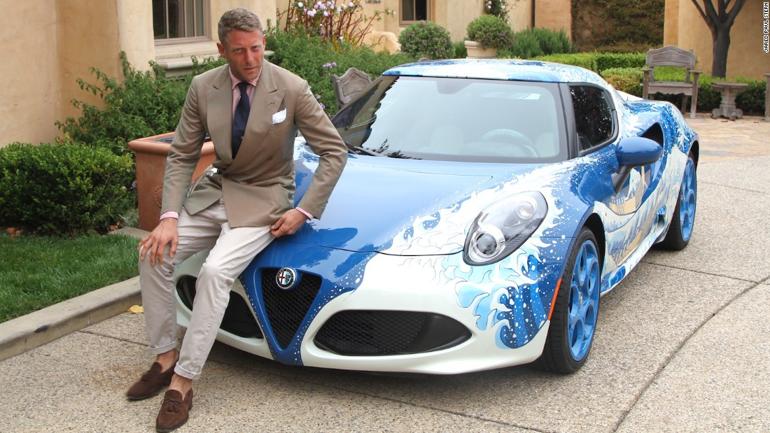 Fiat heir Lapo Elkann flew in from Milan to show off two new creations from his new bespoke auto workshop Garage Italia Customs: a BMW i8 and this Alfa Romeo 4C inspired by the Japanese artist Hokusai.