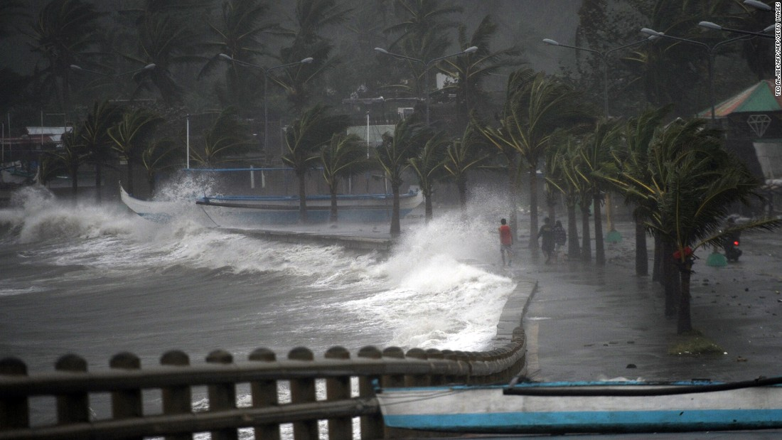 Typhoon Hagupit arrives at the shore of Legazpi City in 2014.