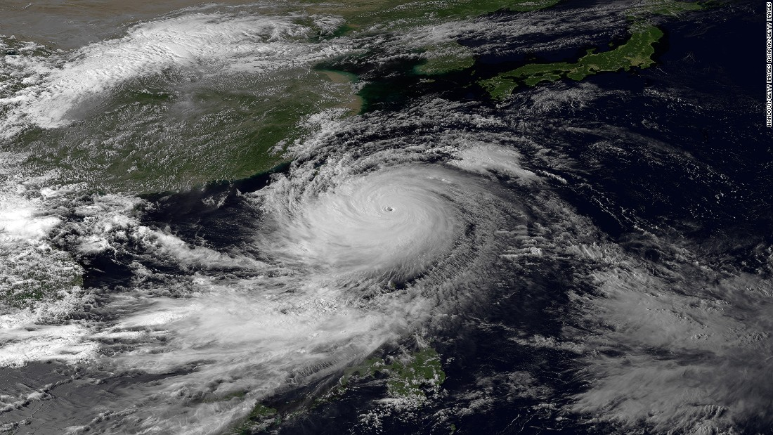 A satellite image of Super Typhoon Usagi as hits the Philippines and Taiwan in 2013, taken by the Japan Meteorological Agency's MTSAT-2 satellite.