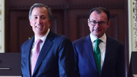 Mexico's resigning Secretary of Finance Luis Videgaray (R) and the new secretary Antonio Meade (L), during during a press conference at the Palacio Nacional in Mexico City on September 7, 2016. Mexico's finance minister Luis Videgaray stepped down on Wednesday, a surprise move that follows his reported key role in Donald Trump's controversial meeting with President Enrique Pena Nieto.  / AFP / ALFREDO ESTRELLA        (Photo credit should read ALFREDO ESTRELLA/AFP/Getty Images)