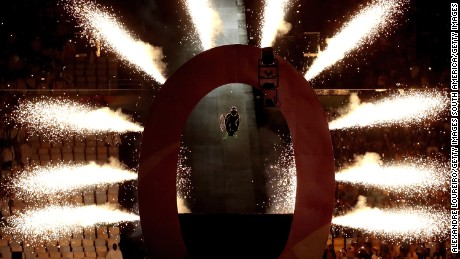 Aaron Wheelz rides off a ramp at the beginning of the opening ceremonys
