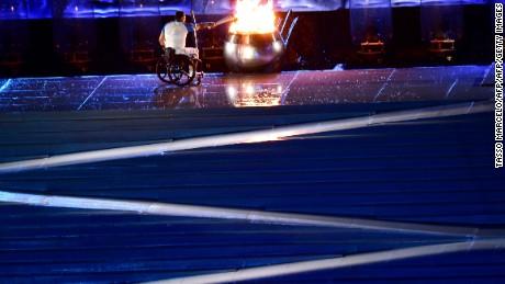 Clodoaldo Silva lights the cauldron at the opening ceremony
