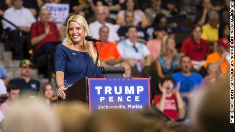 JACKSONVILLE, FL - AUGUST 03:  Florida Attorney General Pam Bondi speaks prior to Republican presidential nominee Donald Trump arriving on stage for a rally at the Jacksonville Veterans Memorial Arena on August 3, 2016 in Jacksonville, Florida. Trump has had to answer concerns from inside the Republican party that his campaign is in disarray. (Photo by Mark Wallheiser/Getty Images)