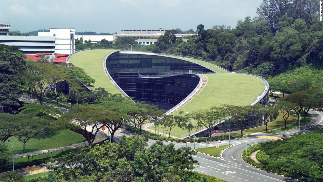 The incredible curved green roof of this art and design school in Singapore serves as an informal gathering space and sits atop a five-story facility that features classrooms and studios.