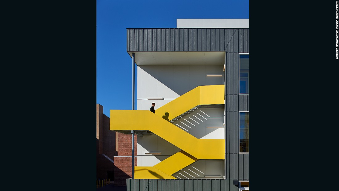 "This bilingual, sustainability-focused public charter school was granted an Award of Excellence in the AIA's 2016 Education Design Facility Awards. <br /><br />""Within the older building, breakout nooks and cubbies are carved from the generous corridors and abandoned ventilation chases. The Pre-K annex facade is designed to be deferential to the historic school,"" said the AIA. <br />"