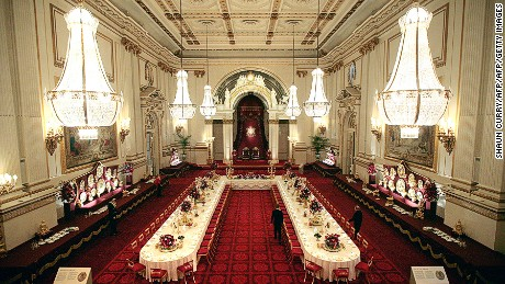 You could attend (to) the next banquet at Buckingham Palace.