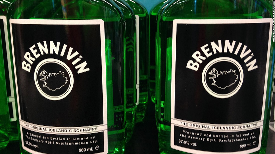 Brennivin is the most famous brand of svartidauði, a clear, unsweetened schnapps also known as Black Death.