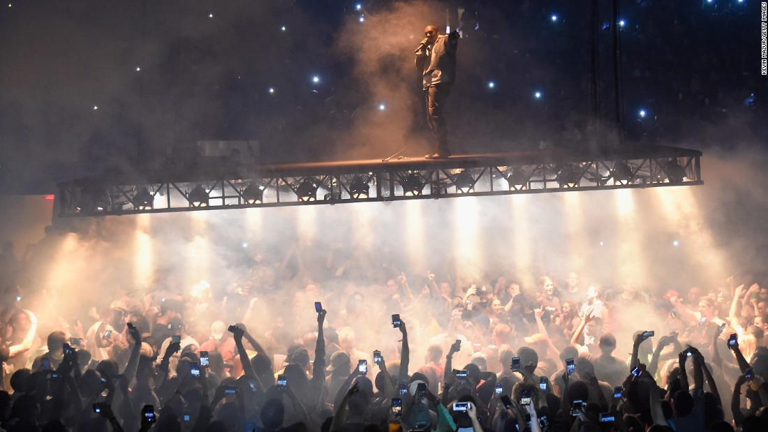 "Rapper Kanye West performs at Madison Square Garden in New York  on Monday, September 5, as part of his ""Saint Pablo Tour."""