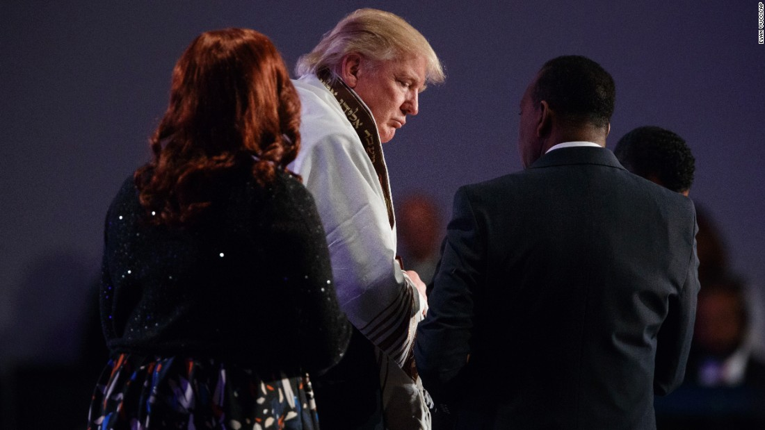 "Republican presidential candidate Donald Trump wears a prayer shawl during a church service at Great Faith Ministries in Detroit on Saturday, September 3. <a href=""http://www.cnn.com/2016/09/03/politics/donald-trump-black-voters-detroit/"" target=""_blank"">Trump addressed a largely African-American audience</a> for the first time as a presidential candidate, delivering a message of unity."