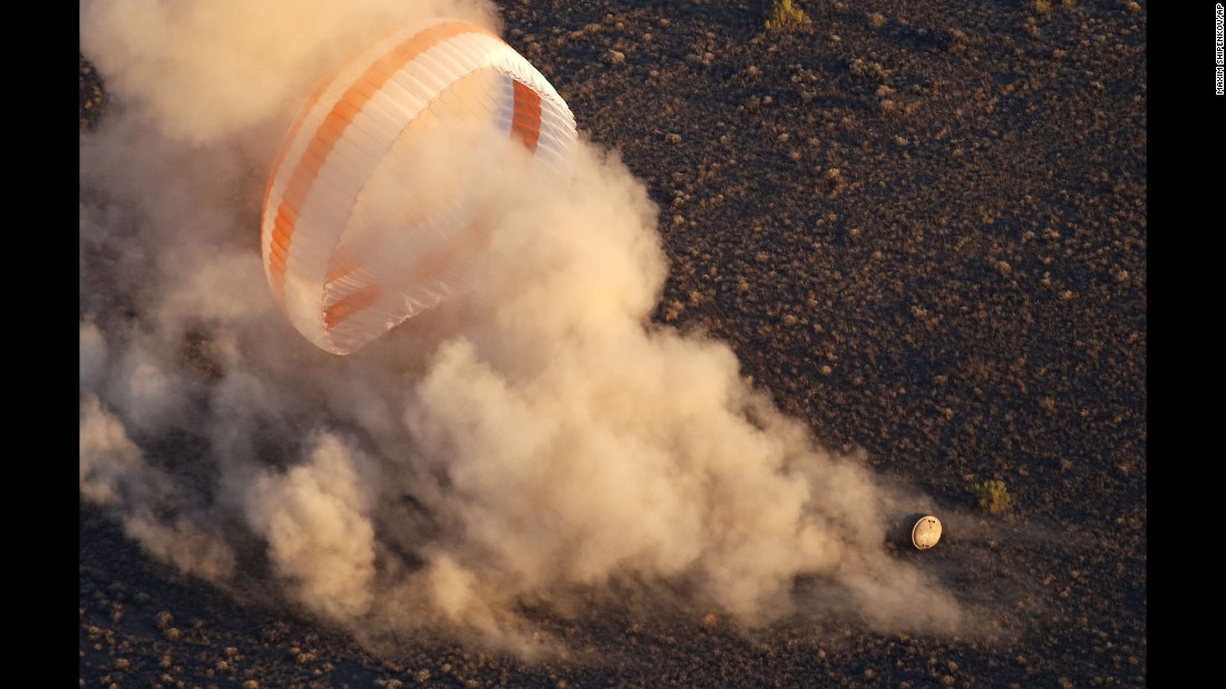 NASA astronaut Jeff Williams and Russian cosmonauts Alexey Ovchinin and Oleg Skripochka touch down near the town of Zhezkazgan, Kazakhstan, on Wednesday, September 7. The US-Russian crew -- carried to Earth by the Soyuz capsule -- landed safely after a six-month mission aboard the International Space Station.