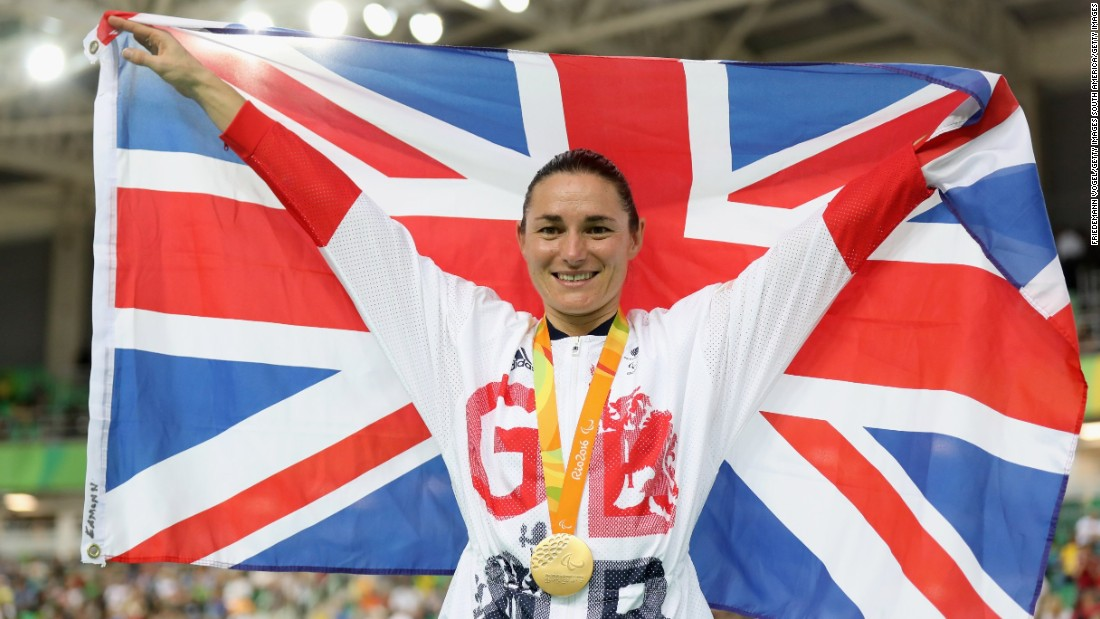 Sarah Storey celebrates the gold medal that made her the most decorated British female Paralympian in history. It was a Team GB one-two, as she beat fellow Briton Crystal Lane in the C5 3,000m individual pursuit final.