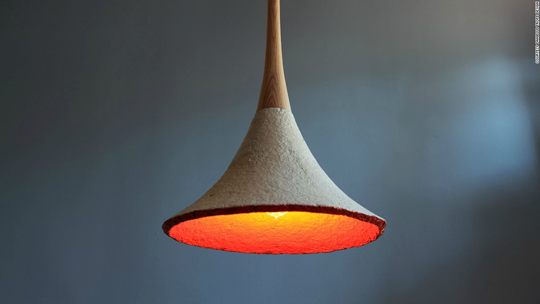 A material made from mushroom roots and farm waste is used to make furniture, packaging and lamp shades.<br />