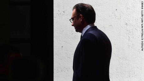 Mexico's finance minister Luis Videgaray is pictured during the swearing-in ceremony of the new minister, Jose Antonio Meade, at Los Pinos presidential residence in Mexico City on September 7, 2016. Videgaray stepped down on Wednesday, a surprise move that follows his reported key role in Donald Trump's controversial meeting with President Enrique Pena Nieto. Pena Nieto said he had accepted Videgaray's resignation and replaced him with Social Development Minister Jose Antonio Meade, a former foreign minister who held the finance job between 2011-2012.  / AFP / ALFREDO ESTRELLA        (Photo credit should read ALFREDO ESTRELLA/AFP/Getty Images)