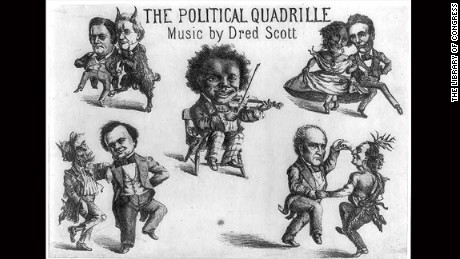 "The four main 1860 candidates are mocked in a cartoon with racist imagery titled, ""The political quadrille. Music by Dred Scott"" (1860)"