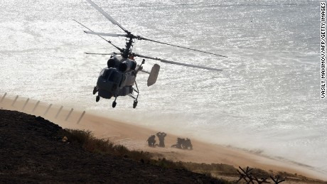 Russia's servicemen take part in a military exercise called Kavkaz (the Caucasus) 2016 at the coast of the Black Sea in Crimea on September 9, 2016.