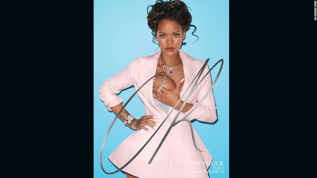 "Carine Roitfeld and Terry Richardson reimagined Rihanna as a modern-day Marie Antoinette. Roitfeld explained the theme: ""The magazine is crafted around key elements of her [Marie Antoinette's] life -- her exuberant sense of fashion, her elaborate hairdos, her intense sexuality -- almost like a modern biography through fashion imagery. And on the cover is Rihanna, who shares with Marie Antoinette an air of royalty that I, and the world it seems, find intoxicating."""