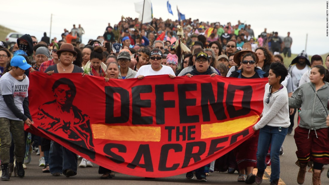 Protesters march on September 4 in opposition to the Dakota Access Pipeline.