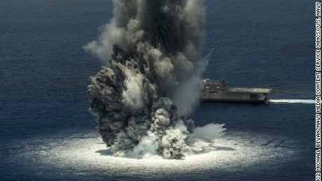 Navy warship tested against 10,000-pound explosive