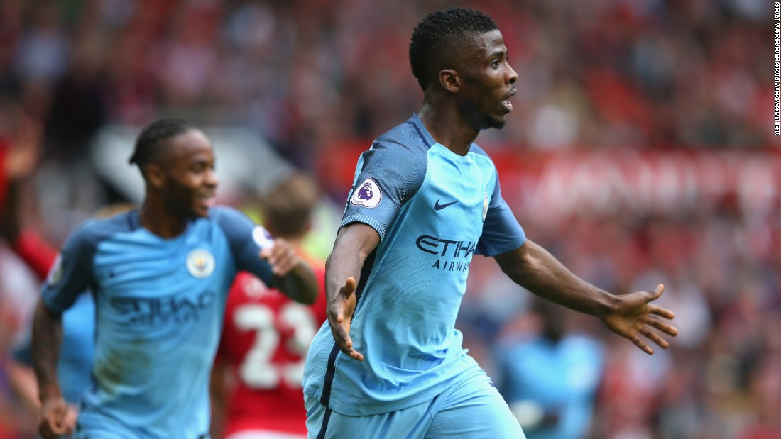 Kelechi Iheanacho of Manchester City celebrates scoring his sides second goal during the Premier League match between Manchester United and Manchester City at Old Trafford on September 10, 2016 in Manchester, England.
