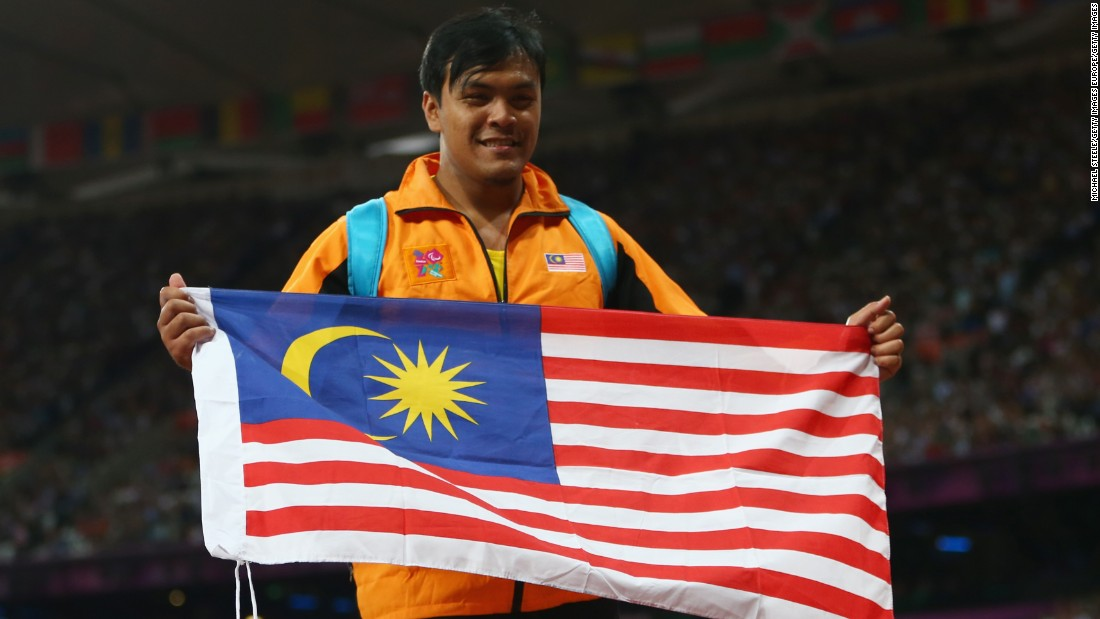 And it wasn't long before the country had its second. Muhammad Ziyad Zolkefli won F20 shot put gold, surpassing the bronze he won in London four years ago (pictured).