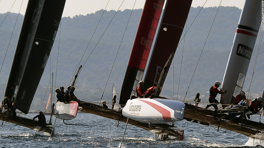 The Japan, New Zealand and French team multihulls battle for position on the second day of the Louis Vuitton America's Cup World Series.