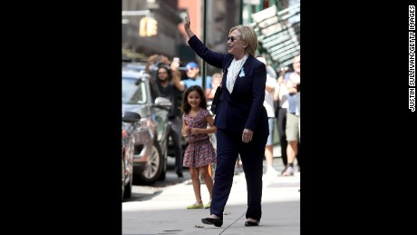 Democratic presidental nominee former Secretary of State Hillary Clinton leaves the home of her daughter Chelsea Clinton on September 11, 2016 in New York City. Hillary Clinton left a September 11 Commemoration Ceremony early after feeling overheated and went to her daughter's house to rest.