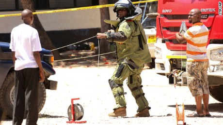 A member of a bomb disposal team at the scene of the attack.