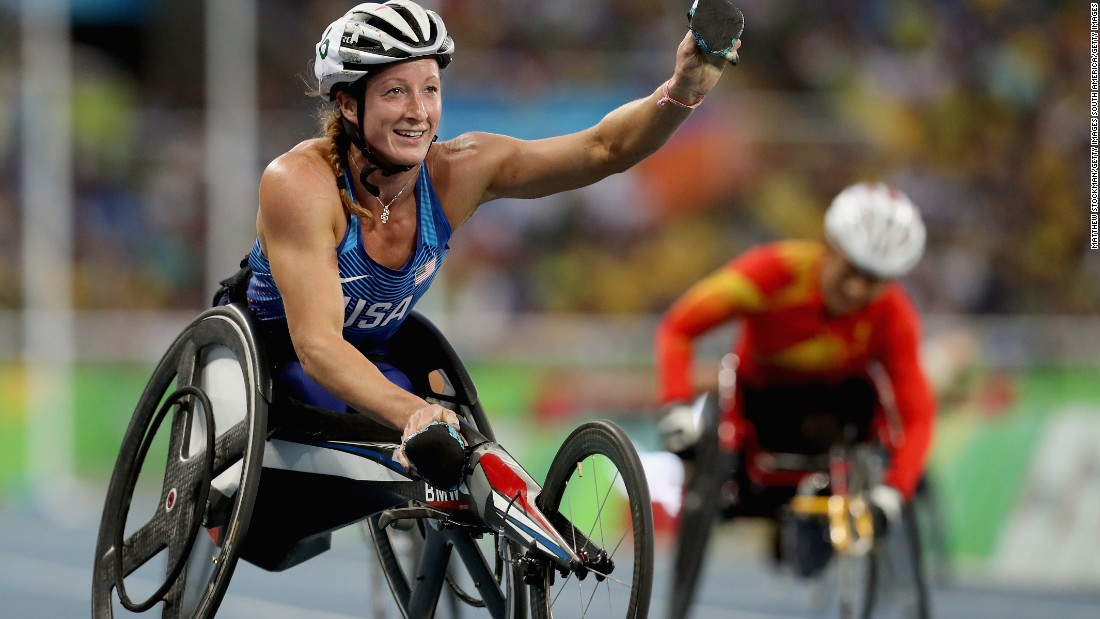 Tatyana McFadden celebrates as she crosses the line to win the women's T54 400m  final. It's her second medal of Rio 2016 and the 27-year-old is hoping to add five more.